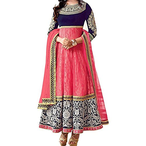 Bollywood Rakul Preet Net Brasso and Velvet Party Wear Anarkali Suit In Baby Pink Colour  available at amazon for Rs.686