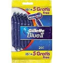 Gillette Maquinilla Desechable para Hombre Blue II Plus - 15 + 5Maquinillas - Total: 20 Maquinillas