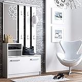 Julie - Garderobenset mit Schuhschrank Wandpaneel Ablage Spiegel (85 cm breit, Weiß Matt)