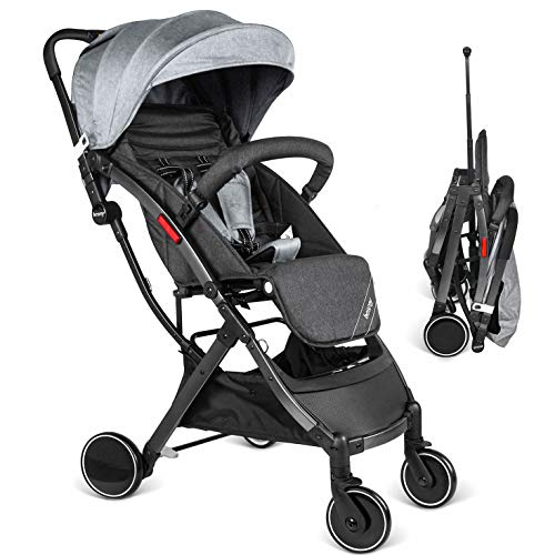 Besrey Buggy Kinderwagen Reisebuggy kompakt klappbar mit Liegeposition ab Geburt bis 3 Jahren + Regenverdeck Schwarz & Grau -