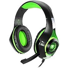 Samoleus Auriculares Gaming para PS4 con Microfono Auriculares Cascos Estéreo Luz LED con 3.5mm Jack y Volumen Control para Ordenador Portátil /Tablet / PC/Teléfon Móviles (Verde)