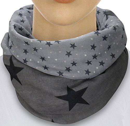 Sterne (XXL Neue Kollektion Damen Schal leichter Schlauchschal Viele Farben (Stern Dunkelgrau/Schwarz))