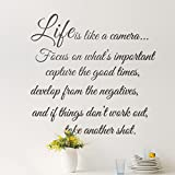 MING Life Is like a Camera Quotes Removable Wall Stickers Decal for Living Room Coffee Shop Cafe...