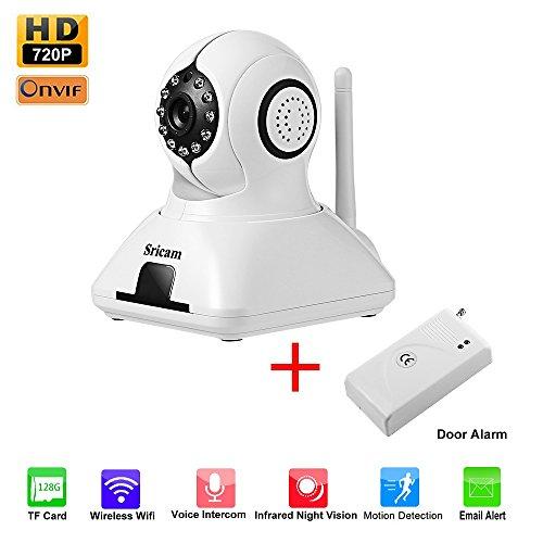Cámara de Vigilancia LESHP IP HD WiFi P2P IR Vision nocturna con Micrófono y altavoz Detección de movimiento-sonido Alarma inalámbrico para puerta compatible con iOS y Android