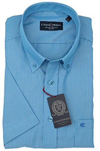 Michaelax-Fashion-Trade -  Camicia Casual  - A righe - Con bottoni  - Maniche corte  - Uomo Blau (102)