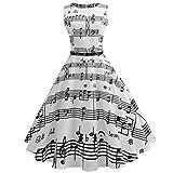 Damen Kleid Retro Cocktailkleid Vintage Druck Sleeveless Faltenrock beiläufiges Abend-Partei-Abschlussball-Schwingen-Kleid (Weiß BB, L)