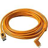 Tether Tools TetherPro SuperSpeed 4,6 Meter USB-Datenkabel (Anschlusskabel, Übertragungskabel) für USB 3.0 an USB 3.0 Micro-B (rechtsgewinkelter Stecker/orange) - z.B. zum Anschließen einer Kamera an ein Notebook