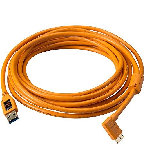 Tether Tools TetherPro SuperSpeed USB-Datenkabel für USB 3.0 an USB 3.0 Micro-B - 4,6 Meter Länge, rechtsgewinkelter Stecker (orange) (Elektronik-tether)