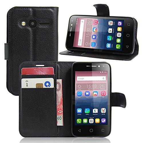 Tasche für Alcatel Pixi 4 (4.0 zoll) Hülle, Ycloud PU Ledertasche Flip Cover Wallet Case Handyhülle mit Stand Function Credit Card Slots Bookstyle Purse Design schwarz