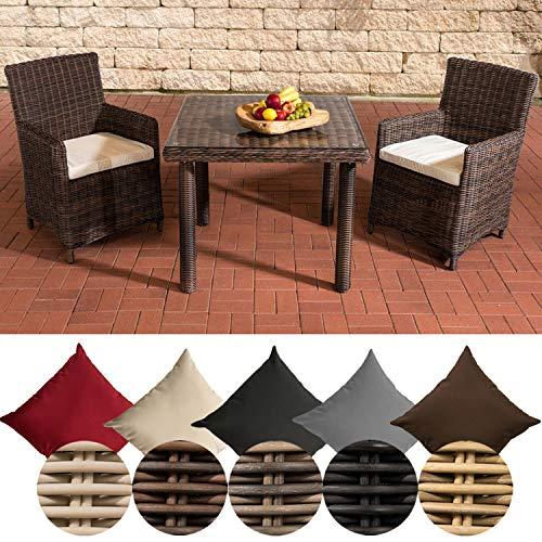 CLP Polyrattan Sitzgruppe Dorado, Tisch mit Klarglas Tischplatte 100x100 cm, inkl. Sitzpolster, bis zu 25 Farbkombinationen wählbar Rattanfarbe: Braun-meliert, Bezugsfarbe: Cremeweiß