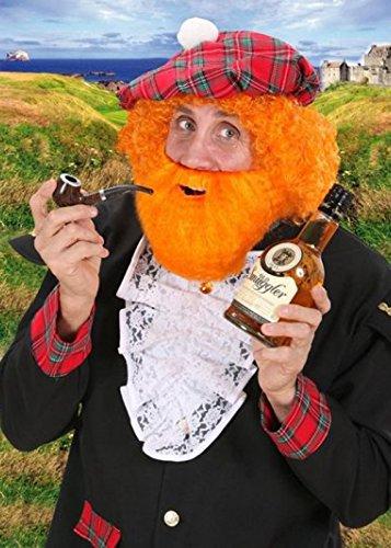 Schottische Fancy Dress buschigen Orange gefälschten Bart (Buschigen Bart Kostüm)