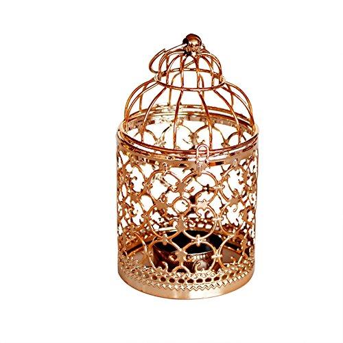 Hosaire 1x Kerzenständer Fashion Birdcage Design Hohl Metall Kerzenständer Haushalt Wohnzimmer Schlafzimmer Deko Kerzen Kerzenhalter(Roségold A) 8 * 8 * 14CM