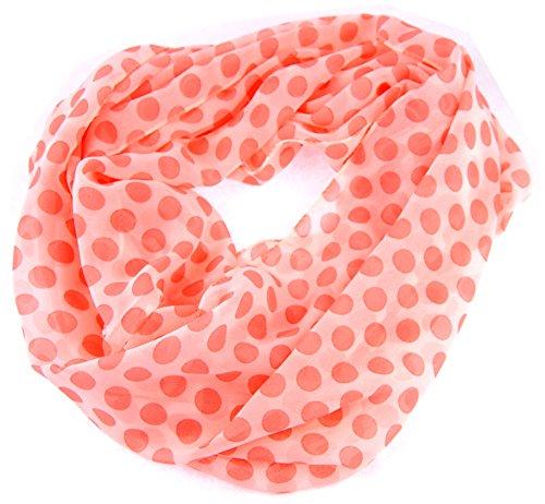 NB24 Damen Loop Schal, Endlosschal, Sommerschal, wollweiß mit apricotfarbenen Punkten, Damenbekleidung, Damenschal, Tuch (Weiß Uhren : Damen-bekleidung)