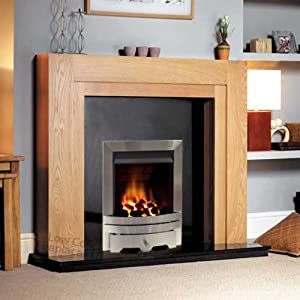 "Gas Oak Surround Black Granite Stainless Steel Silver Coal Flame Fire Modern Fireplace Big Suite - Large 54"" - UK Mainland Only"