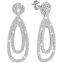 MARENJA-Regalo San Valentín Pendientes Largos Mujer de Moda-Cristal Pavé-Joya Chapada en Oro Blanco con Cristal