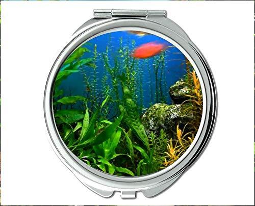 Yanteng Spiegel, Kompaktspiegel, Mandarinfisch-Thema des Taschenspiegels, tragbarer Spiegel 1 X 2X Vergrößerung - Immobilien Bad