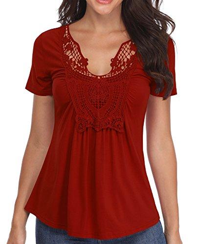 Blusen Frauen V-Ausschnitt mit kurzen Ärmeln Damenmode Oberteile Chest Lace Basic Rüschen Vivid Mode Red für Party - XL - Trim Fit Shirt