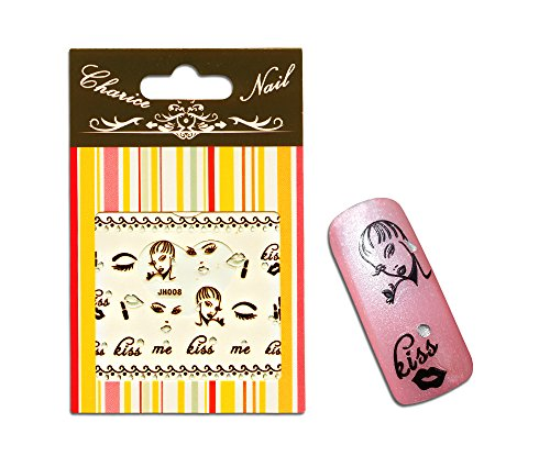 Sticker Lady Style selbstklebend Lippen, Augen, Wimpern, Frauen Gesicht und Schriftzug kiss me - Me Nägel Kiss