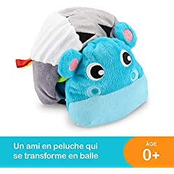 Fisher-Price Mon Hippo 2-en-1, peluche pour bébé, jouet qui se transforme en balle, dès la naissance, GFC35