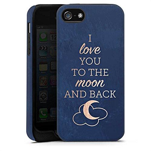 Apple iPhone X Silikon Hülle Case Schutzhülle Sprüche Moon I Love You Love Tough Case matt