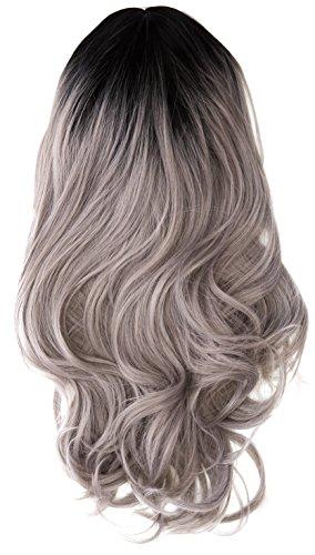 amback lang Dye dunklen Wurzeln Ombre Cosplay Halloween Perücke für Frauen gelockt Welle Haar Perücken Kappe/Gary RF22