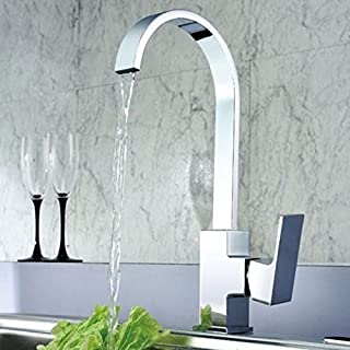 Kitchen Sink Mixer Tap Single Lever Swivel Spout Chrome Brass Square Body Waterfall Monobloc Taps