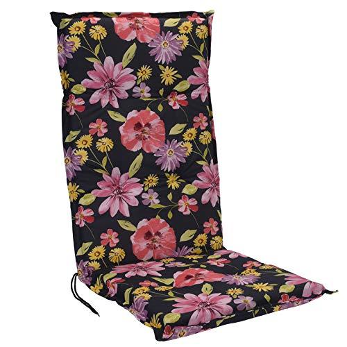 JEMIDI Stuhlauflage Hochlehner Gartenstuhl Hochlenerauflage 120cm x 50cm x 5cm Stuhl Stuhlkissen Sitzkissen (Blumen)