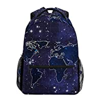 Hunihuni Galaxy World Map Durable Backpack College School Book Shoulder Bag Daypack for Boys Girls Man Woman
