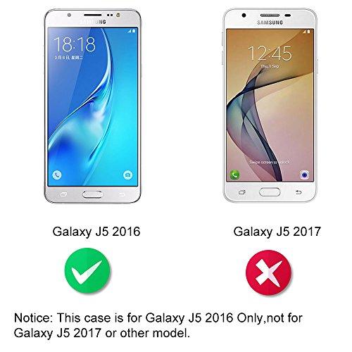 Dooki, Galaxy J5 2016 Coque, Supporter Flip PU Cuir Pochette Portefeuille Housse Coque Etui pour Samsung Galaxy J5 2016 avec Crédit Carte Tenant Fente (F-02)