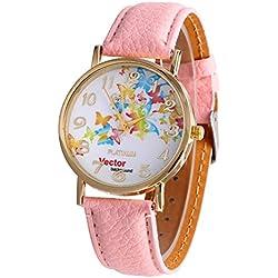 SSITG Women's Watch Vogue Butterfly Design Leather Analog Quartz Wrist Watch Gift Gift