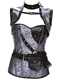 ab5b39688be Shangrui Women Punk Rock Leather Touch Retro Corset Tops Bustier Black