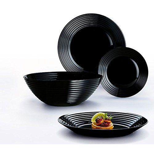 Luminarc Harena 19 Stück Geschirr-Set für 6 Extra Robust (Schwarz) - Geschirr-sets Schwarz Geschirr