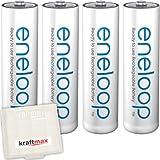 Kraftmax 4er Pack Panasonic Eneloop AA / Mignon Akkus - Neueste Generation - Hochleistungs Akku Batterien in Kraftmax Akkubox V5, 4er Pack