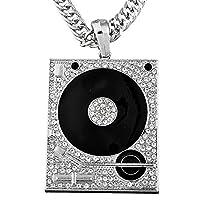 MJARTORIA Women Men Pendant Phonograph Silver Color Rhinestone Hiphop Necklace