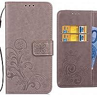 Funda Huawei Ascend G6 Carcasa, Ougger Hoja Suerte Silicona Tapa Premium Piel Billetera PU Cuero Magnética Stand Flip Cover Bumper Protector con Ranura para Tarjetas (Gris)