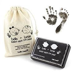Idea Regalo - Kit per Impronte di Mani e Piedi di Bambini – Tampone a Inchiostro Nero Sicuro per impronte bimbi – facile da lavare via