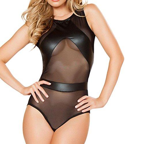 Damen Sexy Kleid für Club Frauen Kunstleder Wet Look Sexy Backless Minikleid Bodysuit Clubwear Kleid Cocktailparty (A)
