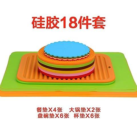 FLYRCX Super dicke Silica Gel coaster wasserdicht Wärme und Verbrühen beständig Polster Set 14 oder 18 Stück, 18.