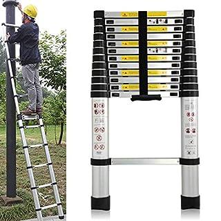 Autofather Telescopic Ladder 3.8M Aluminium DIY Extendable Multi-purpose Straight Steps Portable Ladder Home Office Loft Max Load 150KG