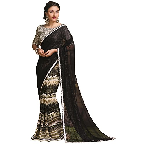 Wonderful Black and White Printed Sarees