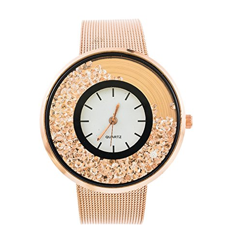 Souarts Womens Rose Gold Color Band Round Dial Quicksand Rhinestone Quartz Analog Wrist Watch 22cm