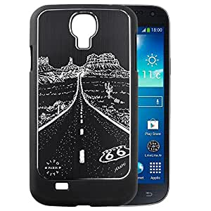 Coque Samsung Galaxy S4 ROUTE 66 en Alu brossé noir