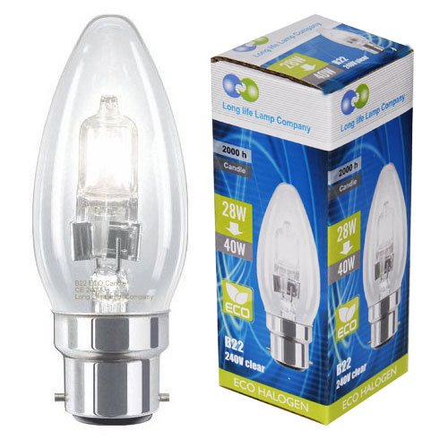 Long Life Lamp Company B22 Bayonet Cap Halogen Eco Candles 28 Watt Equivalent 40 Watt Dimmable Halogen Candles Energy Saving Candle Light Bulbs, Pack of 10