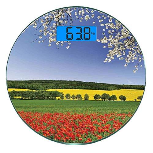Digitale Präzisionswaage für das Körpergewicht Runde Blumen Ultra dünne ausgeglichenes Glas-Badezimmerwaage-genaue Gewichts-Maße,Poppy Field mit einer Frühlings-Landschafts- und Blüten-Baum-Ansicht in -