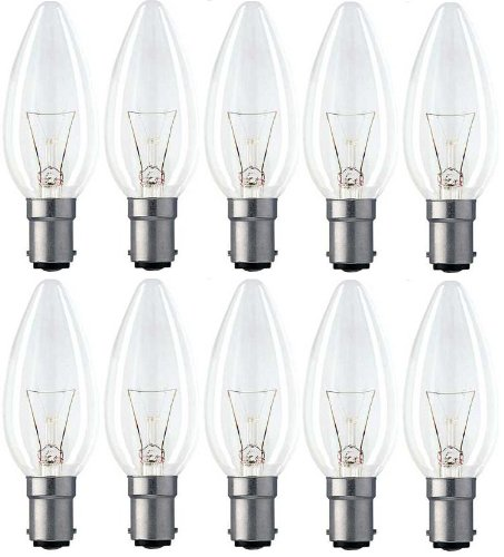 10 x STATUS 40W Classic Clear SBC B15 B15d Candle Light Bulbs, Small Bayonet Cap, Dimmable Incandescent Lamps, 390 Lumen, Mains 240V by Status