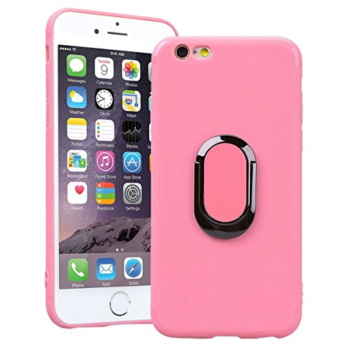 SmartLegend iPhone 6 Plus 6S Plus Silicone Case with Ring Holder Kickstand, iPhone 6 Plus Soft Back Cover Blue, 2 in 1 Flexible Lightweight Anti-Scratch Solid Color Protection Slim Fit Gel Rubber Bump Pink