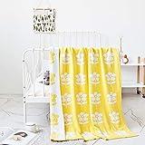 R.S. Doppelseitig Gestrickt Decke 100% Baumwolle Super weich Reversibel Stuhlbezug zum Bettsofa Drinnen draußen,Yellow,90x110cm(35x43inch)