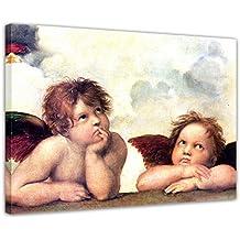 Zwei Engel braun Leinwand Leinwandbild Raffael