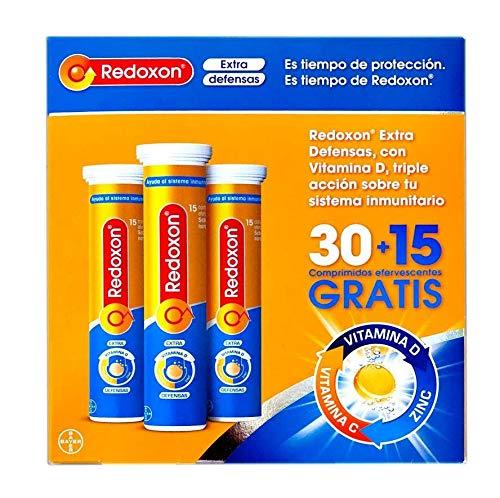 Redoxon Extra Defensas Vitamina C, D y Zinc, 30+15 Comprimidos Efervescentes