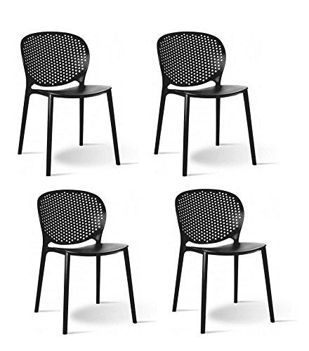 Meubletmoi Lot de 4 chaises Noires empilables - Design Moderne - Robustes et légères - BILY Noir